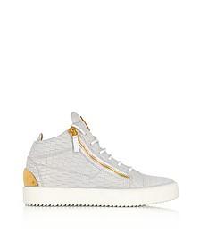 Kriss Sneakers Mid Top in Pelle Cocco Bianco Ottico - Giuseppe Zanotti