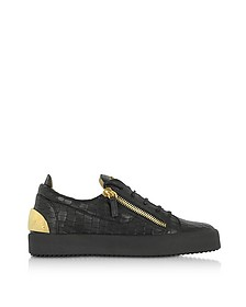 Black Embossed Croco Leather Low Top Men's Sneakers - Giuseppe Zanotti