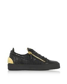 Low Top Herren-Sneaker aus krokogeprägtem Leder in schwarz - Giuseppe Zanotti