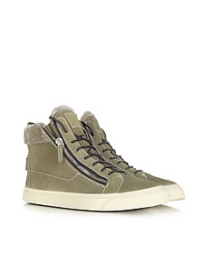 Suede with Faux Fur High-top Sneakers