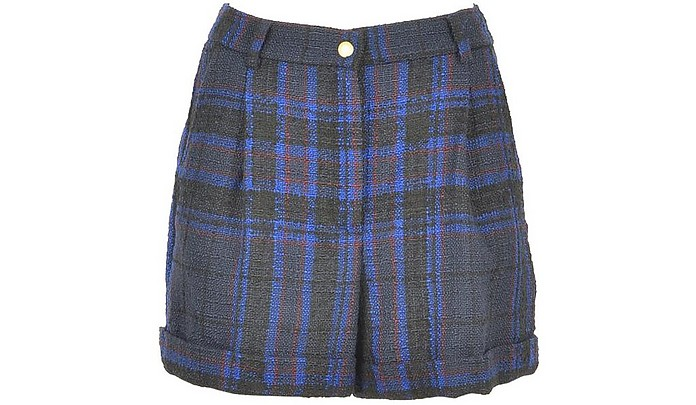 Black and Blue Wool Blend Women's Shorts - Jucca