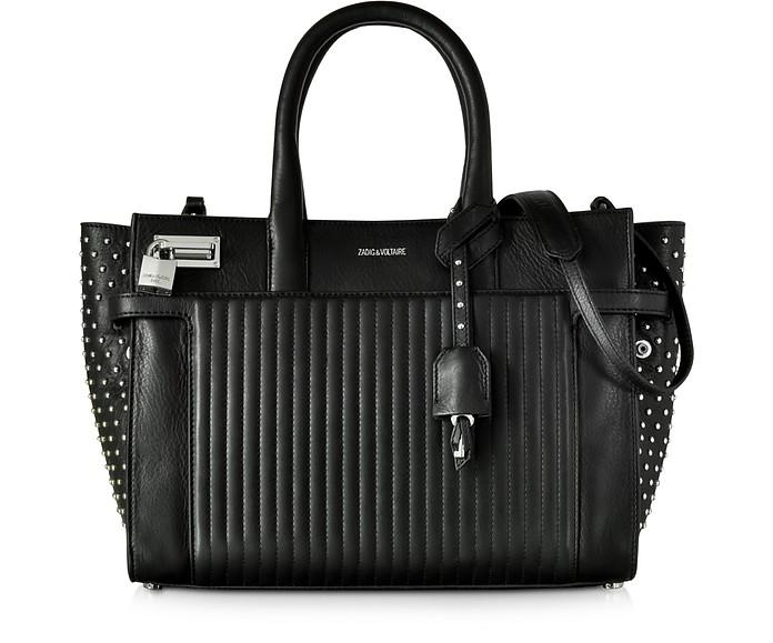 Candide Medium Black Leather Studded Satchel Bag - Zadig & Voltaire