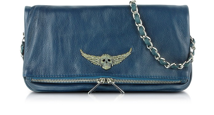 Rock Petrol Blue Leather Clutch w/Shoulder Strap - Zadig & Voltaire