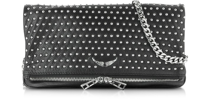 Rock Studs Cuir Black Leather Clutch - Zadig & Voltaire