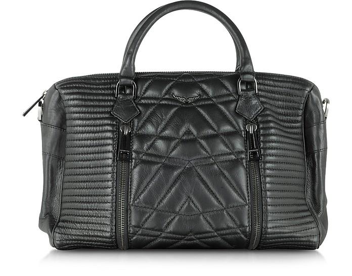 Sunny Black Quilted Leather Satchel w/Shoulder Strap - Zadig & Voltaire