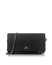 Black Embossed Leather Foldable Rock Savage Clutch - Zadig & Voltaire