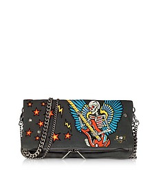 Broderie Elephant Gray Canvas Foldable Clutch - Zadig & Voltaire