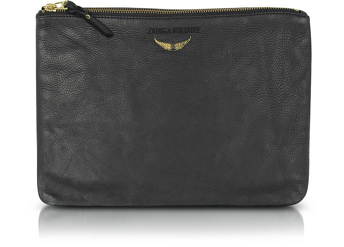 Uma - Black Leather Clutch - Zadig & Voltaire