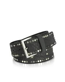Black Studded Leather Starlight Belt  - Zadig & Voltaire