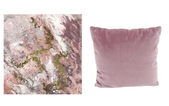 Pink abstract canvas and scatter cushion.