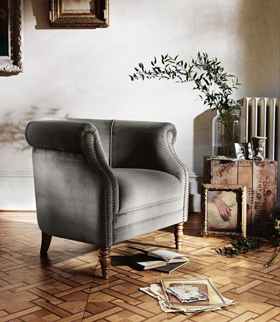 Roll back velvet armchair from Alexander and James