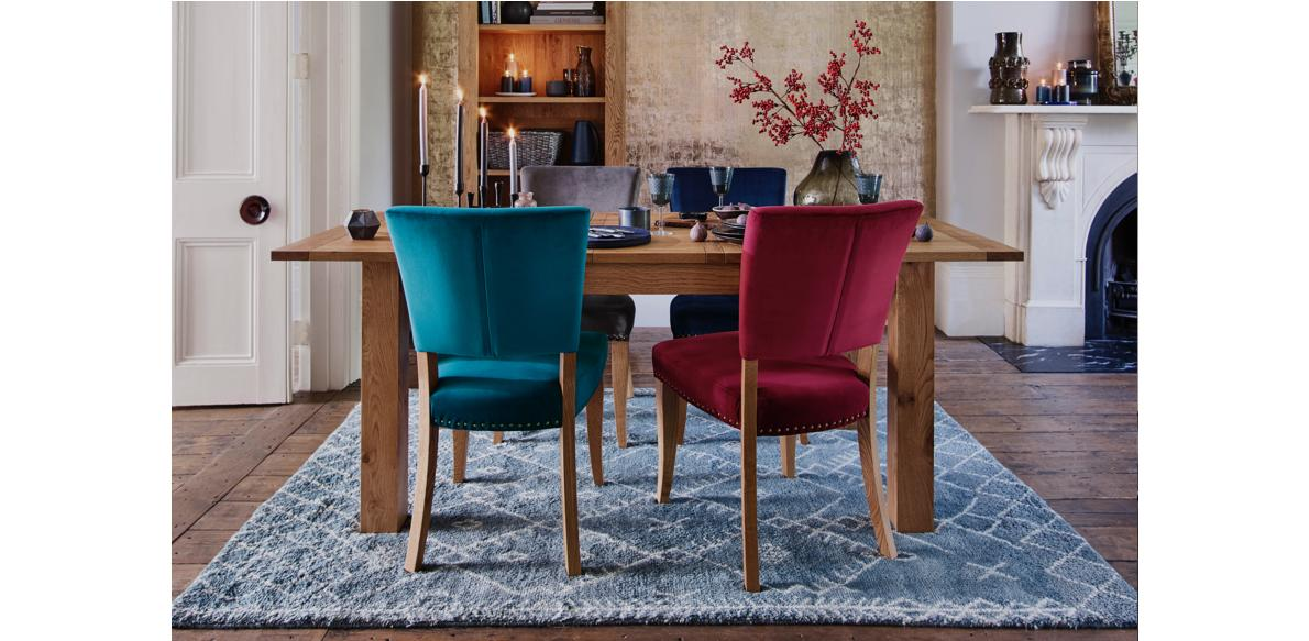 Kingswood dining set with velvet dining chairs.