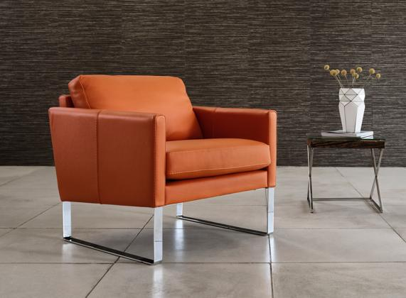Santa Rosa leather accent chair with metal legs.