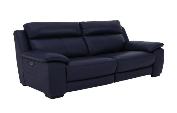 Navy blue leather recliner sofa