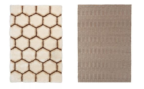 Brown silky rug with hexagon pattern