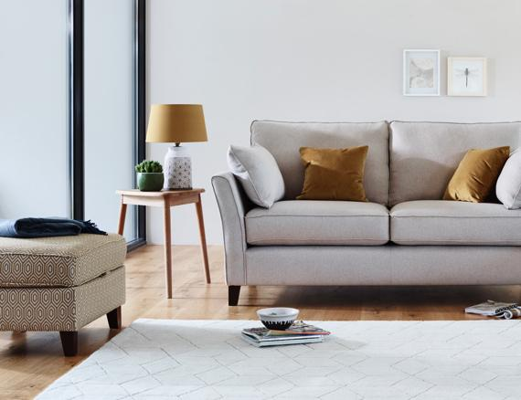 Contemporary fabric sofa with slim arms