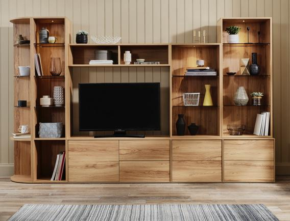 Large tall wooden display and TV entertainmentunit