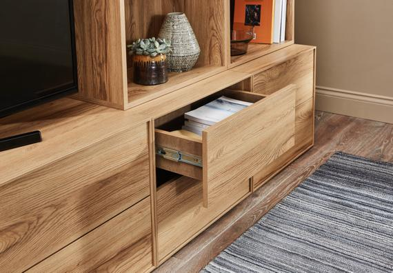 Wooden TV and entertainment unit with drawers