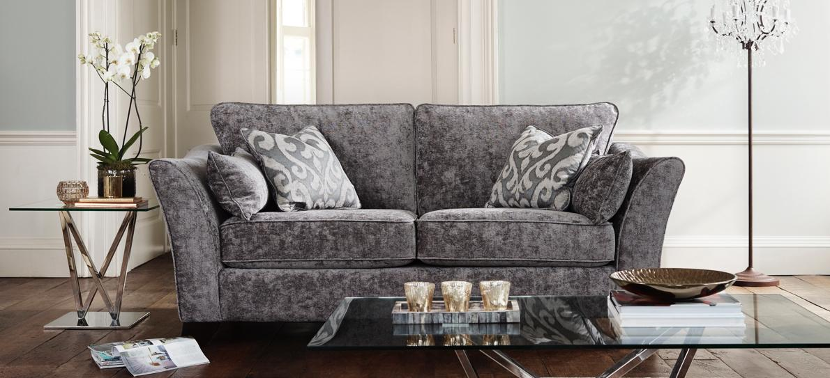 Grey classic back sofa with soft fabric upholstery