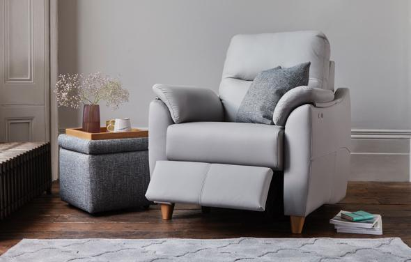 Contemporary grey leather recliner armchair