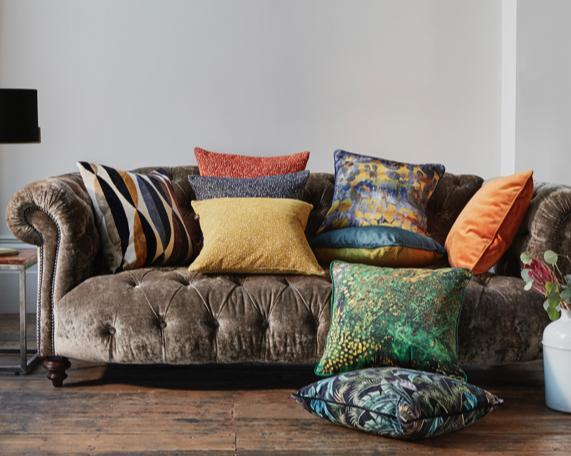 Array of coloured and textured cushions
