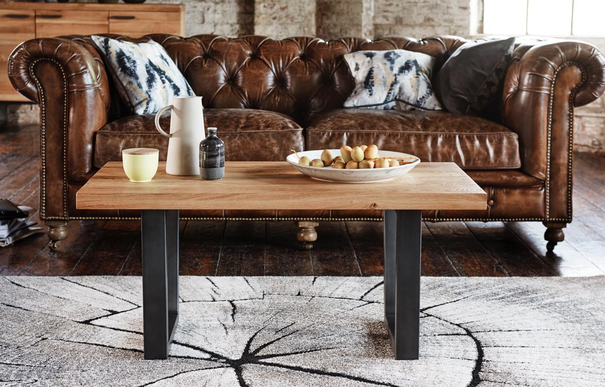 Industrial style wood and metal coffee table