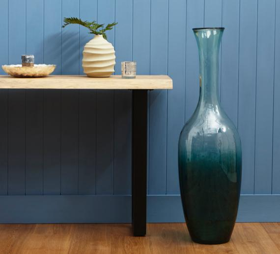 Ombre style large jade and clear glass vase