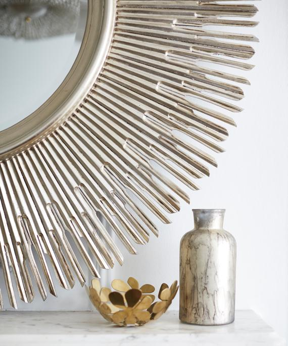 Decorative sunburst design silver finish mirror