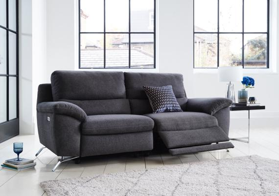 Large modern dark grey fabric recliner sofa