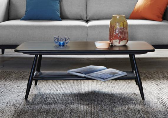 Black wooden Ercol coffee table