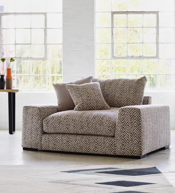 Herringbone fabric large cuddle chair or love seat