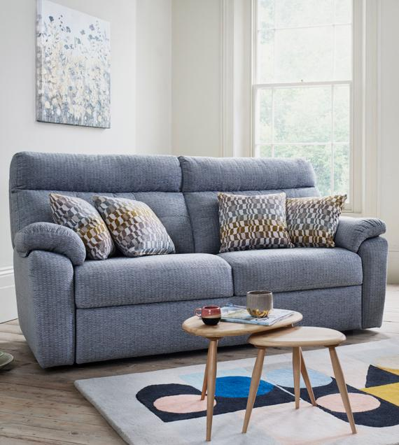G Plan 3 seater fabric sofa and Ercol tables