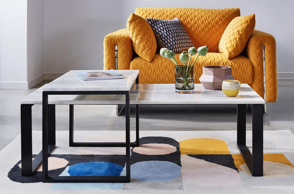 Modern marble and metal coffee table set