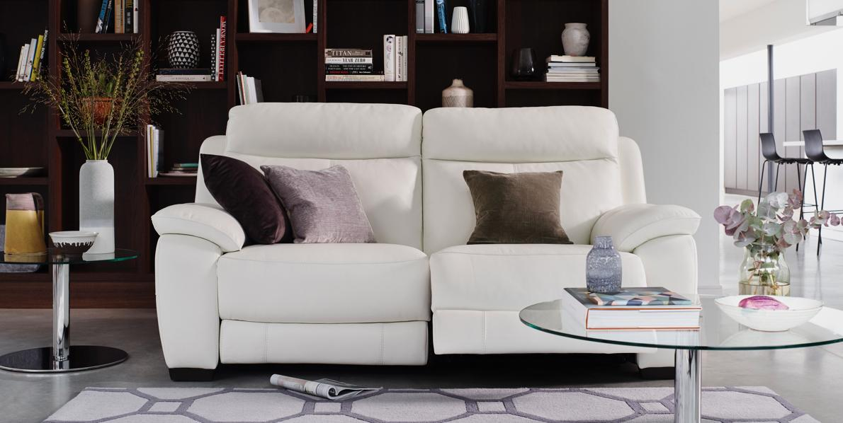 Ultra modern white leather sofa