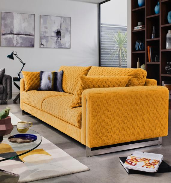 Modern quilted yellow fabric sofa