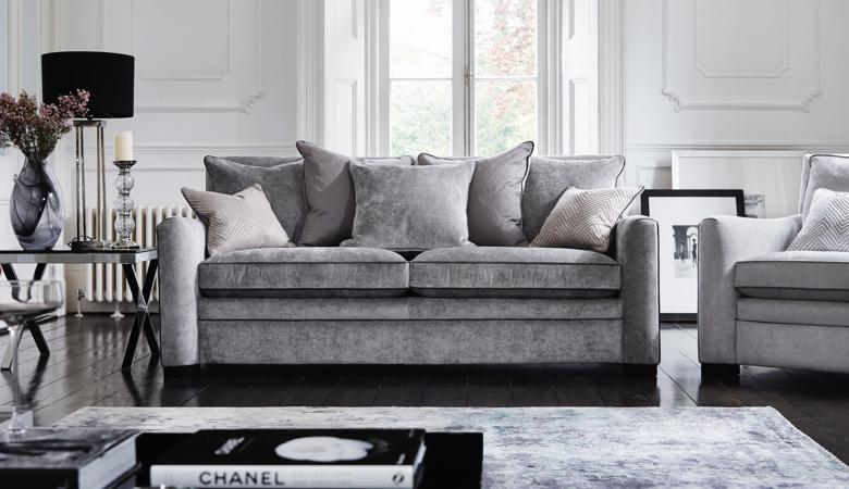 Duresta Grey pillow back fabric sofa