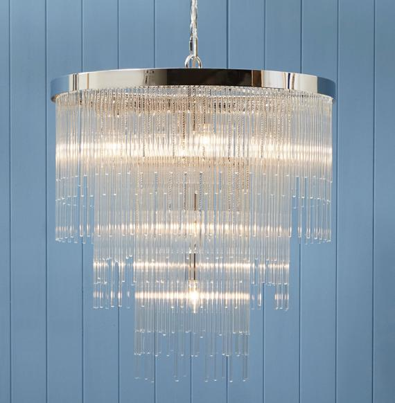 Stunning cascading rods glass chandelier