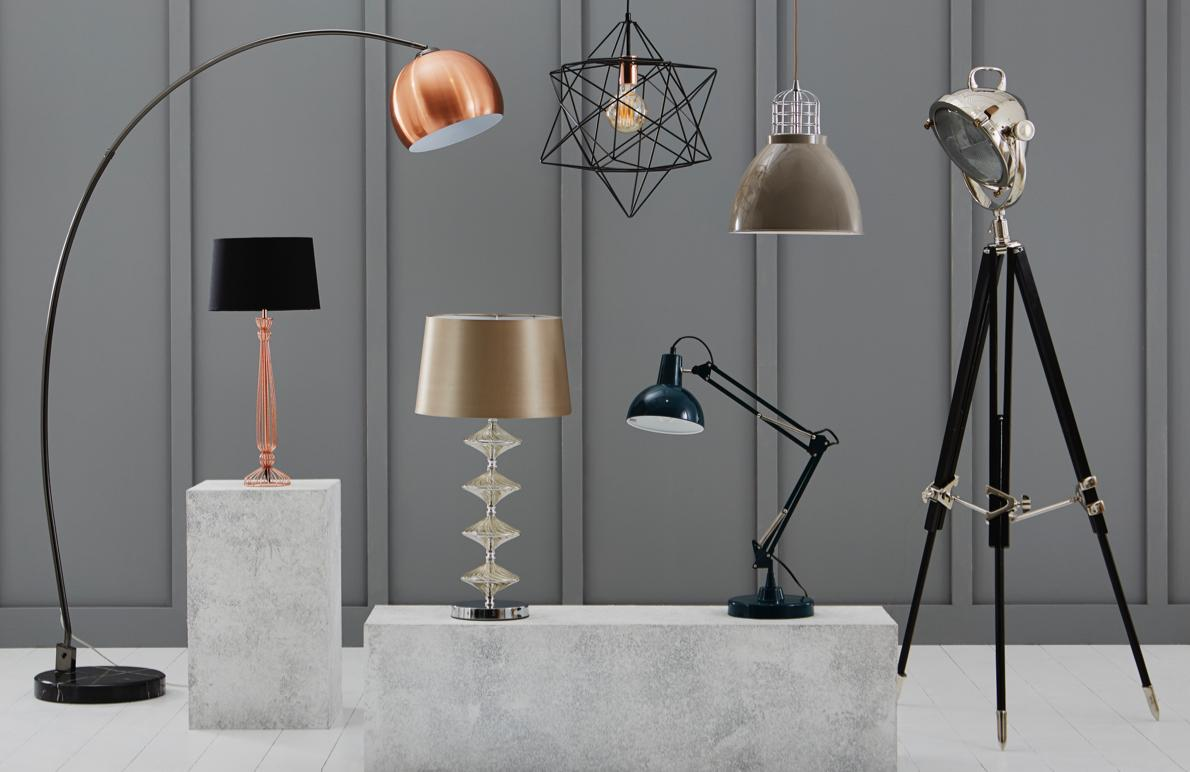Selection of ceiling, floor and table lamps