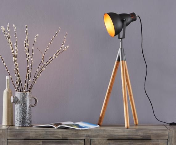 Film style black and wood tripod table lamp
