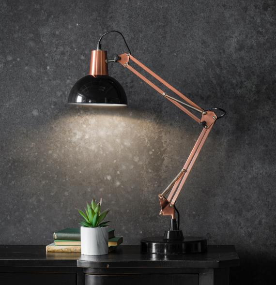 Bronze and black anglepoise style table lamp