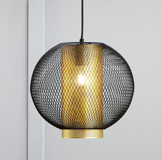 Modern black metal mesh and cylinder ceiling light