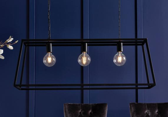 Industrial black geometric triple ceiling light