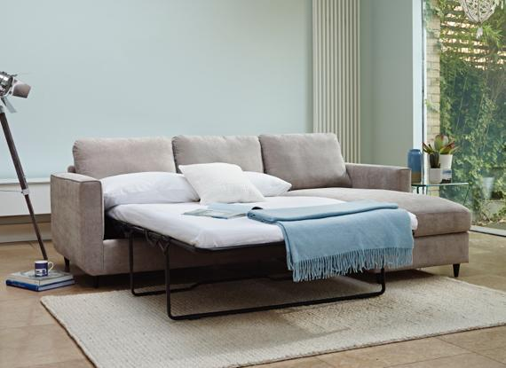 Contemporary beige fabric chaise end sofa bed