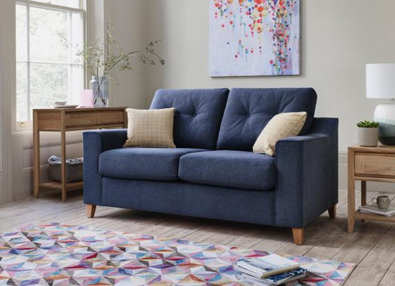 Contemporary small blue sofa bed