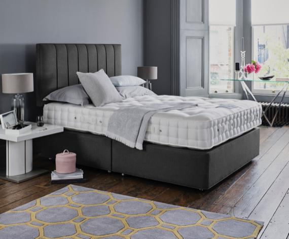 Grey headboard on Hypnos bed – grey bedroom ideas