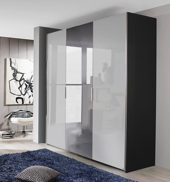 Sliding door semi fitted wardrobe in grey bedroom