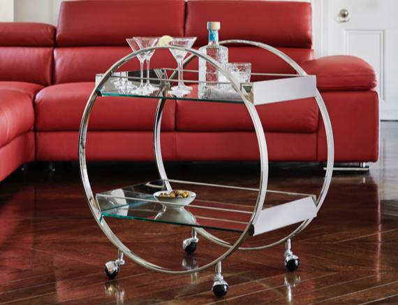 Art Deco circular metal drinks trolley