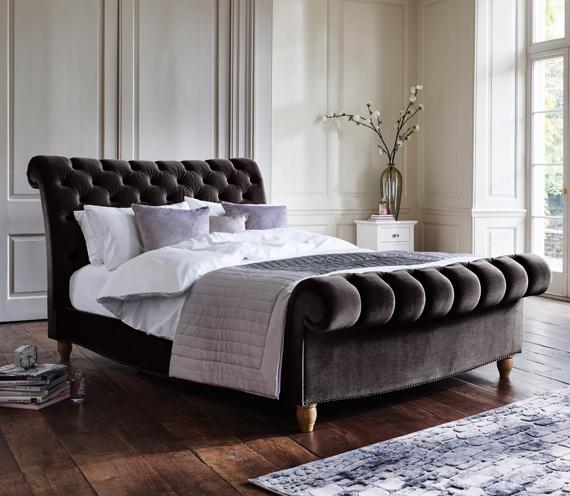 Women's bedroom ideas – velvet bedframe