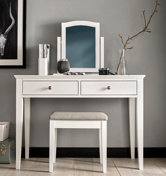 Master bedroom: cream dressing table and stool