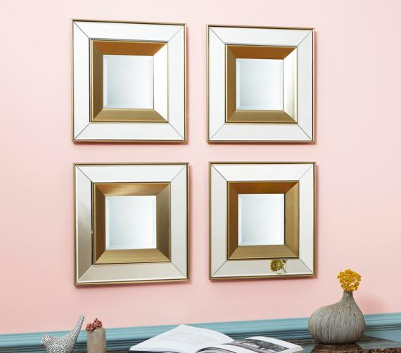Pink and grey bedroom – set of 4 square mirrors